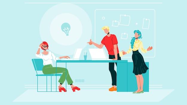 Colegas de trabalho brainstorm no escritório