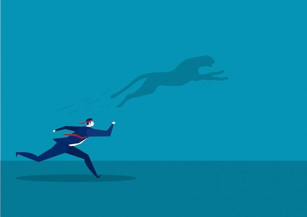 Colegas de trabalho, correndo para o sucesso com o conceito de tigre rápido de sombra