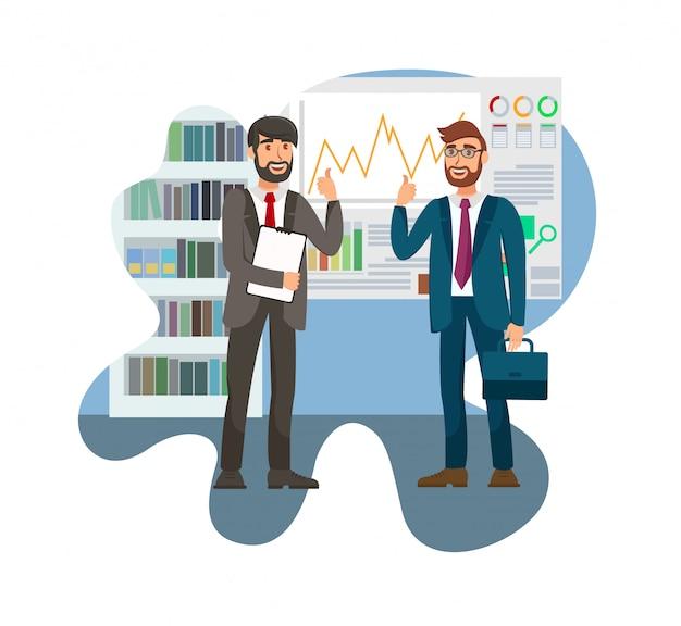 Colegas de trabalho discutindo a ilustração do relatório de negócios