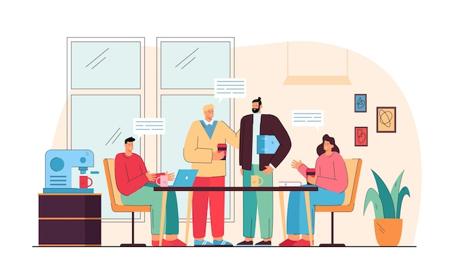 colegas de trabalho felizes conversando no almoço na cozinha do escritório ilustração plana isolada