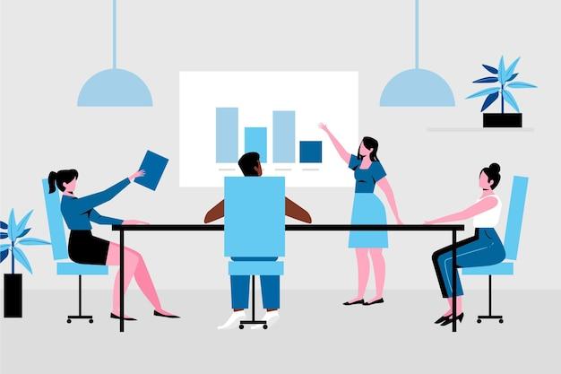 Colegas de trabalho que mantêm o distanciamento social no escritório de reunião