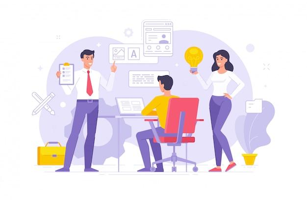 Colegas modernos que compartilham idéias e criam design no escritório