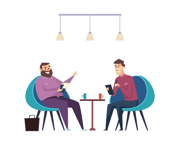 Colegas na pausa para o café. empresários bebem bebidas quentes e falam sobre o conceito de vetor de trabalho. trabalho de escritório, pausa para o café com ilustração de um colega