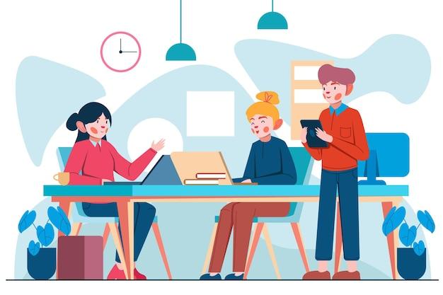 Colegas no espaço de coworking desenhado à mão plana