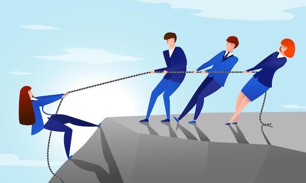 Colegas puxam corda. conceito de trabalho em equipe com trabalhadores de escritório de desenho animado, ajudando a chegar ao topo da montanha com seu colega. sucesso vetorial ou ilustração útil de um amigo, puxando a equipe de negócios