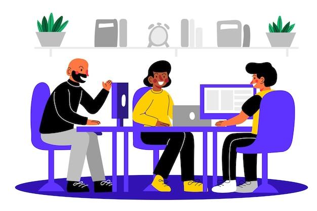 Colegas trabalhando na mesma sala desenhados à mão plana