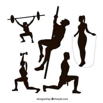 Coleiras de silhuetas de fitness
