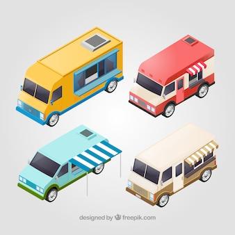 Coleta básica de caminhões de alimentos isométricos