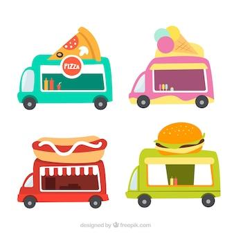 Coleta básica de caminhões de comida lisa