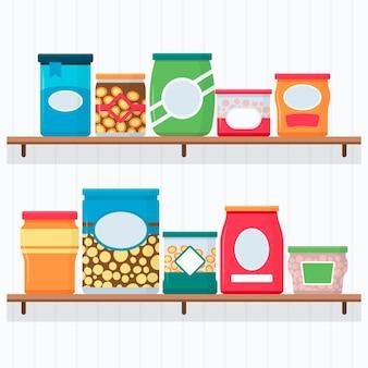 Coleta de alimentos na despensa plana