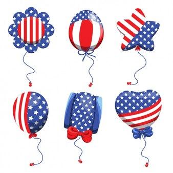 Coleta de balões com as cores da bandeira americana