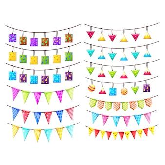 Coleta de bandeirolas coloridas