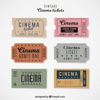 Coleta de bilhete de cinema do vintage