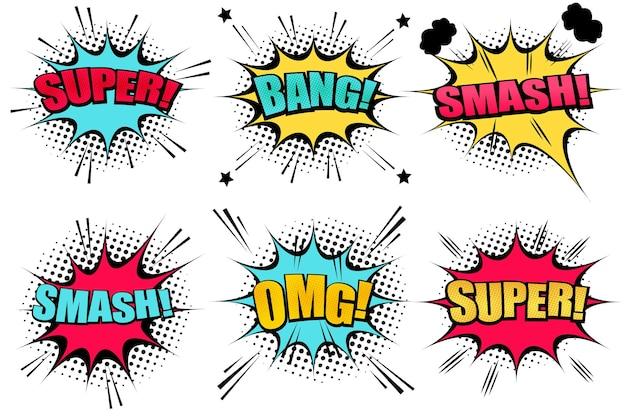 Coleta de bolhas de discurso em quadrinhos com nuvens coloridas as palavras do super smash bang omg estrelam meio-tom e efeitos de humor sonoro.