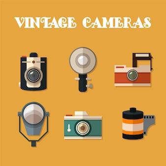 Coleta de câmeras do vintage