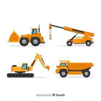 Coleta de caminhões de construção plana