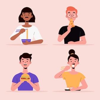 Coleta de cidadãos com comida