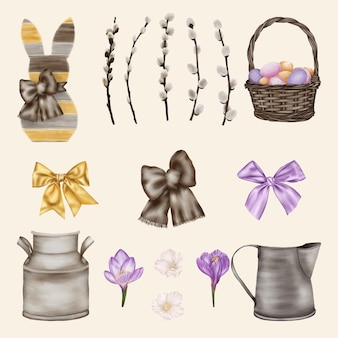 Coleta de comedor com cesta, coelho da páscoa e salgueiro