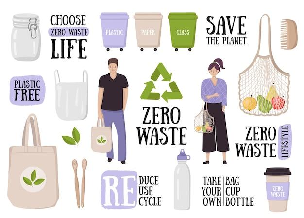Coleta de conceito de estilo de vida com desperdício zero conjunto colorido de eco