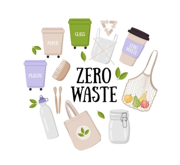 Coleta de conceito de estilo de vida de desperdício zero conjunto colorido de elementos ecológicos e de resíduos