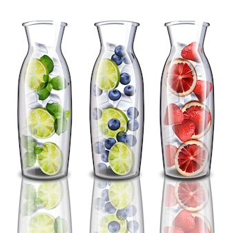 Coleta de conjuntos de bebidas hidratantes de desintoxicação. sabores de morango, limão e mirtilo