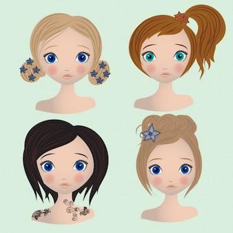 Coleta de cortes de cabelo femininos