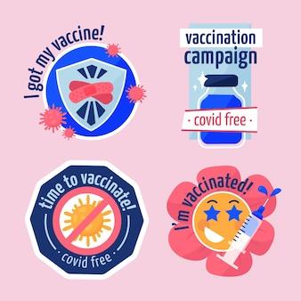 Coleta de crachás de campanha de vacinação plana orgânica