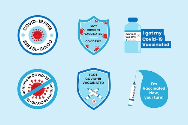 Coleta de crachás de campanha de vacinação plana