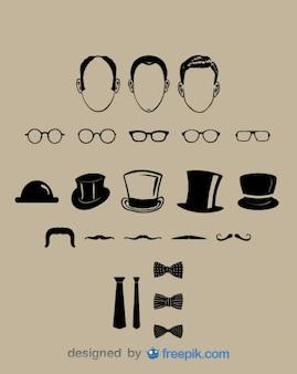 Coleta de elementos cavalheiro vetor visual clássico
