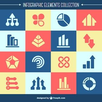 Coleta de elementos infográficos planas