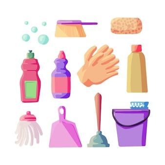 Coleta de equipamentos de limpeza