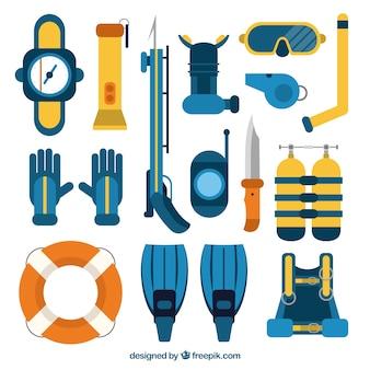 Coleta de equipamentos de mergulho no design plano
