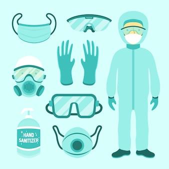 Coleta de equipamentos de proteção contra vírus