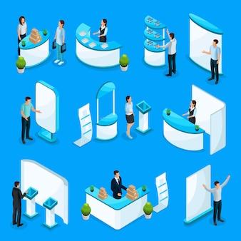 Coleta de estandes promocionais isométricos com pessoas anunciando diferentes produtos usando equipamentos de demonstração isolados