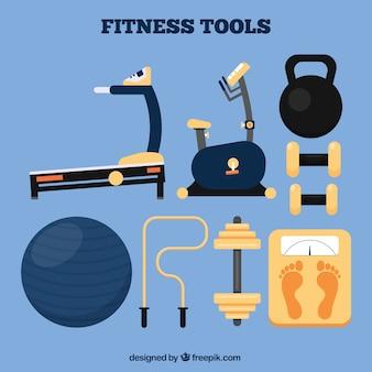 Coleta de ferramentas de fitness plana