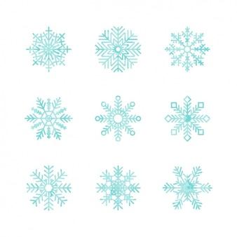 Coleta de flocos de neve coloridos