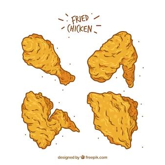 Coleta de frango frito