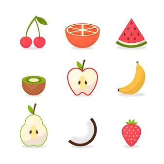 Coleta de frutas saborosas planas