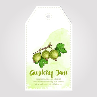 Coleta de geléia de groselha. etiqueta de papel. design para embalagem, tecido de papel de embrulho ou papel de parede.