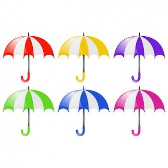 Coleta de guarda-chuvas coloridos