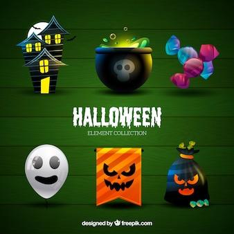 Coleta de halloween dos principais elementos temáticos do feriado