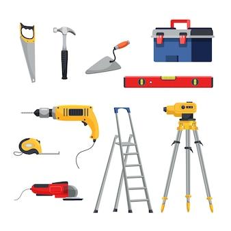 Coleta de instrumentos do construtor, serra, martelo, espátula, líquido e fita métrica de nível a laser triturador elétrico escada