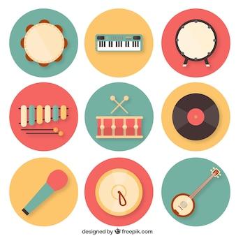 Coleta de instrumentos musicais coloridos