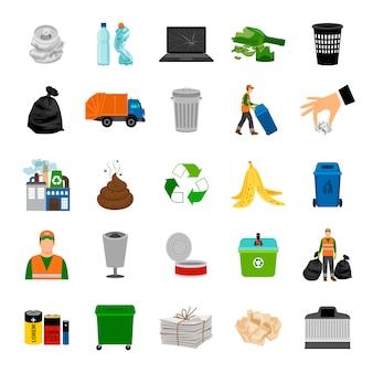 Coleta de lixo de ícones de cor e sinal de reciclar