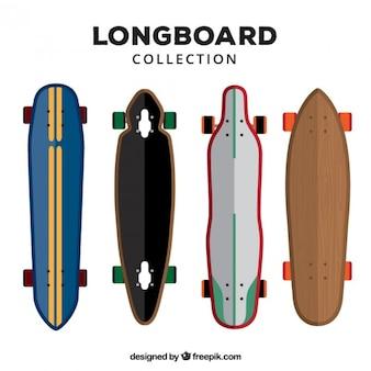 Coleta de longboard no design plano