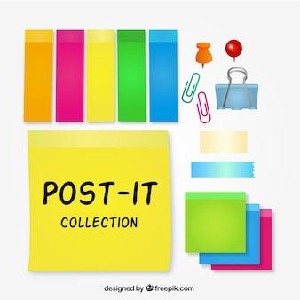 Coleta de post-it colorido