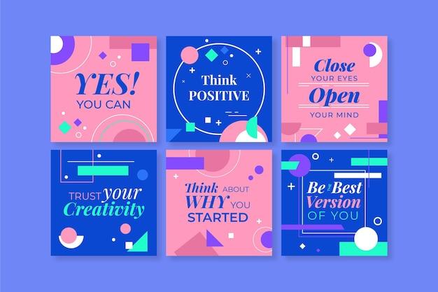 Coleta de postagens instagram de citações inspiradoras planas