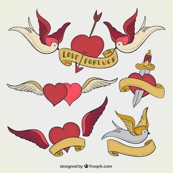 Coleta de tatuagens de coração
