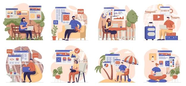 Coleta de trabalho freelance de cenas isoladas as pessoas trabalham com laptops remotamente do local de trabalho