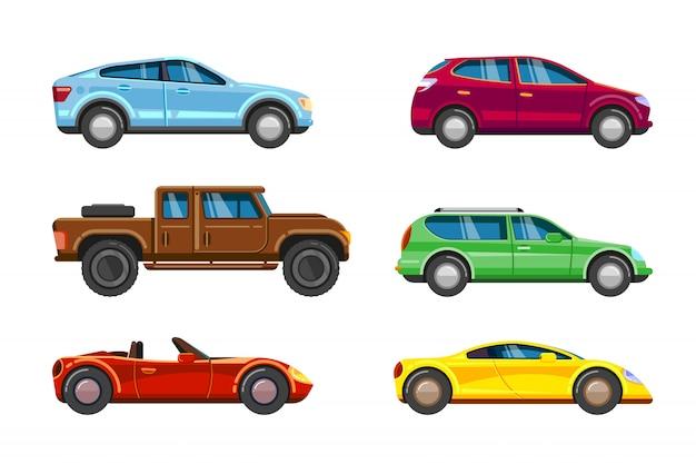 Coleta de veículos. transporte urbano na cidade auto